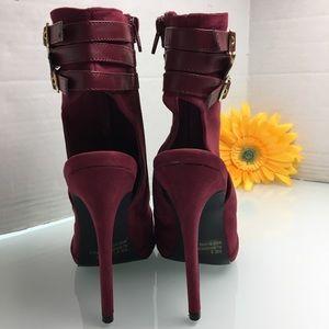 Qupid Shoes - Burgundy Open Toe Open Back Bootie